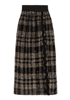 Anna Sui Plaid Shimmer Sequin Skirt