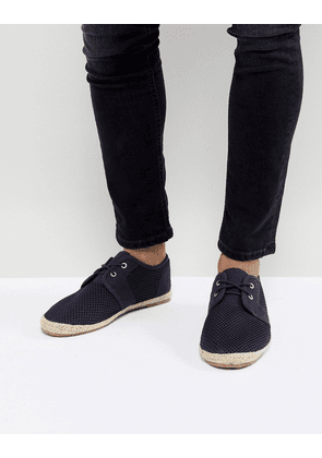Brave Soul Lace Up Espadrilles In Navy Mesh