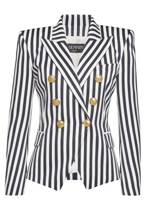 Balmain Striped Cotton Blazer with Embossed Buttons