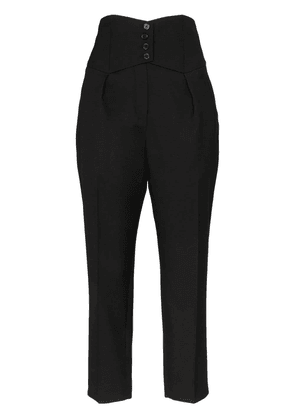Saint Laurent high-waisted tailored cropped wool trousers - Black