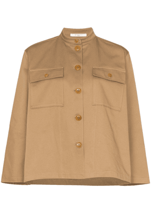 Givenchy collarless pocketed cotton shirt - Neutrals