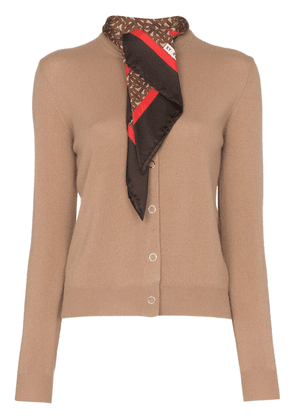 Burberry scarf detail knitted cashmere cardigan - Neutrals