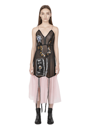 Sequined Patches Swiss Dot Tulle Dress