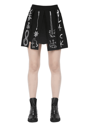Pleated & Embroidered Cady Stretch Skirt