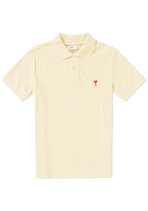 AMI Heart Embroidered Polo Jaune Pale