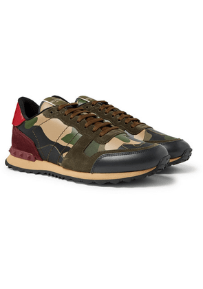 Valentino - Valentino Garavani Rockrunner Camouflage-print Canvas, Leather And Suede Sneakers - Green