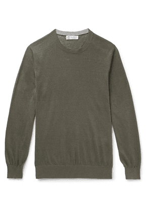 Brunello Cucinelli - Linen And Cotton-blend Sweater - Army green