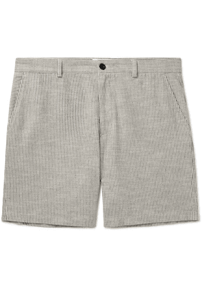 Mr P. - Striped Slub Cotton-blend Bermuda Shorts - Gray