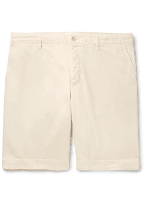 Mr P. - Slim-fit Garment-dyed Peached Cotton-twill Bermuda Shorts - White