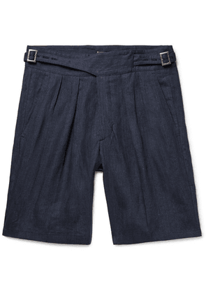 Rubinacci - Manny Pleated Linen Bermuda Shorts - Navy