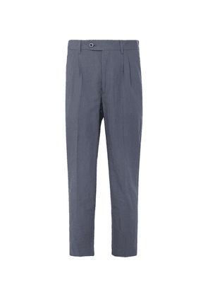Mr P. - Dark-blue Cropped Tapered Pleated Linen And Cotton-blend Suit Trousers - Blue