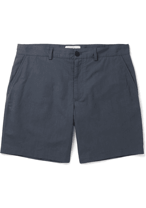 Mr P. - Linen And Cotton-blend Shorts - Blue