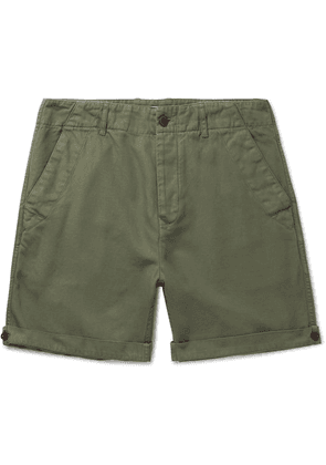 Mr P. - Garment-dyed Peached Cotton And Linen-blend Twill Shorts - Army green