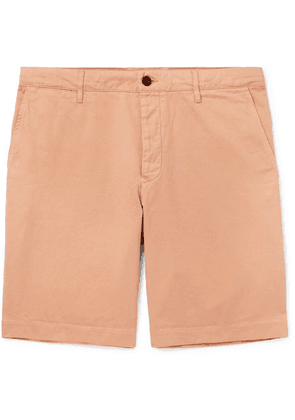 Mr P. - Slim-fit Garment-dyed Peached Cotton-twill Bermuda Shorts - Pink
