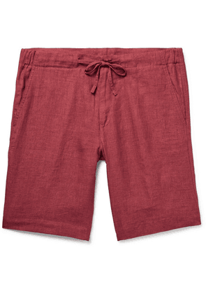 Loro Piana - Slim-fit Linen Drawstring Bermuda Shorts - Red