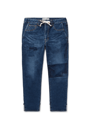 Remi Relief - Slim-fit Tapered Cropped Patchwork Denim Drawstring Jeans - Blue