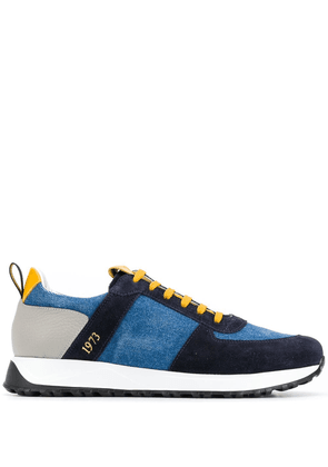 Doucal's contrast lace-up sneakers - Blue