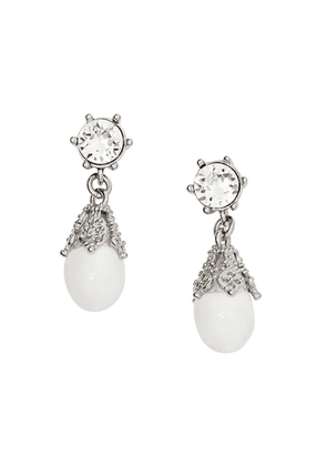 Burberry Palladium-plated Faux Pearl Charm Earrings - White