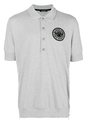 Balmain embroidered logo polo shirt - Grey
