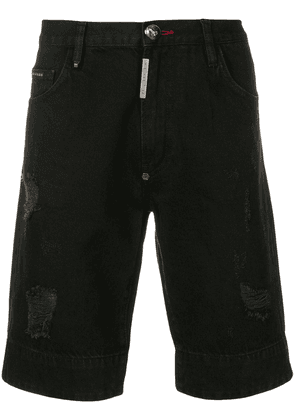 Philipp Plein Skull distressed denim bermuda shorts - Black