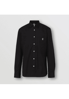 Burberry Monogram Motif Stretch Cotton Poplin Shirt, Black