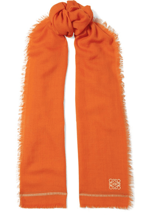 Loewe - Embroidered Cashmere And Cotton-blend Scarf - Orange