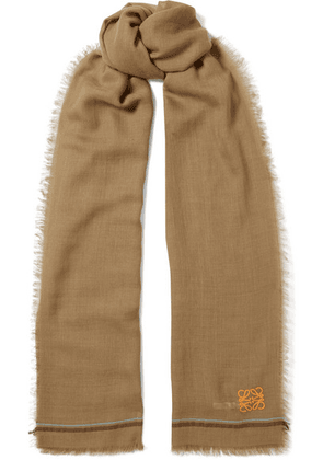 Loewe - Embroidered Cashmere And Cotton-blend Scarf - Beige