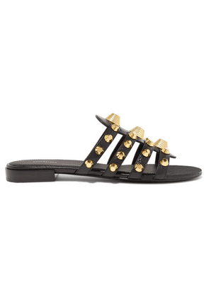 Balenciaga - Giant Studded Glossed Textured-leather Slides - Black