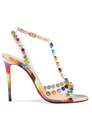 Christian Louboutin - Faridaravie 100 Embellished Pvc And Mirrored-leather Sandals - Metallic