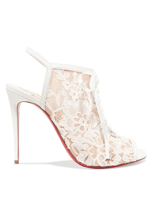 Christian Louboutin - Mariée A Colmar 100 Guipure Lace And Leather Ankle Boots - White