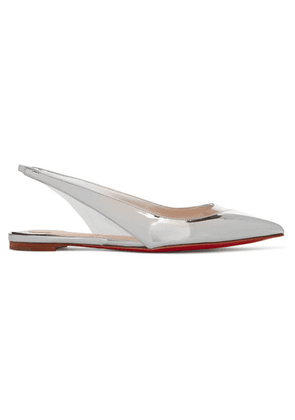 Christian Louboutin - V Dec Pvc And Metallic Leather Slingback Point-toe Flats - Silver