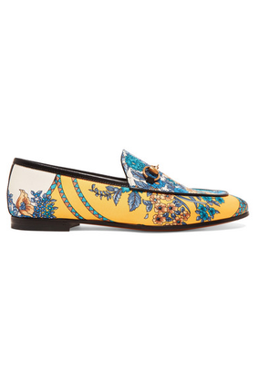Gucci - Jordaan Horsebit-detailed Leather-trimmed Printed Twill Loafers - Yellow