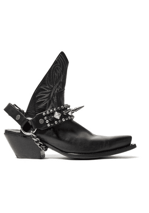 R13 - Studded Leather Slingback Ankle Boots - Black