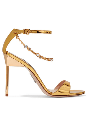 Miu Miu - Embellished Mirrored-leather Sandals - Gold