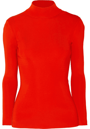 Victoria Beckham - Open-back Ribbed-knit Turtleneck Sweater - Red