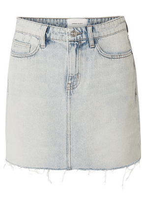 Current/Elliott - The Five Pocket Frayed Denim Mini Skirt - Light denim