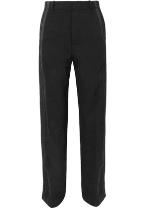 Balenciaga - Satin-trimmed Crepe Straight-leg Pants - Black