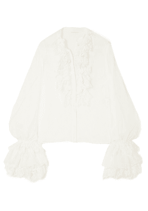 SAINT LAURENT - Ruffle And Lace-trimmed Silk-chiffon Blouse - White