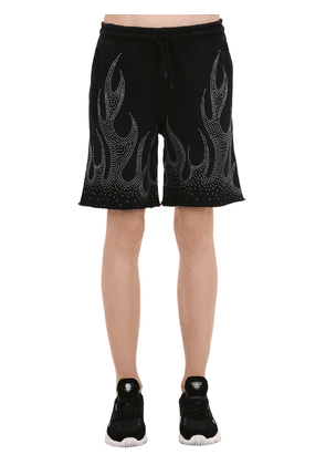 Crystal Embellished Cotton Shorts