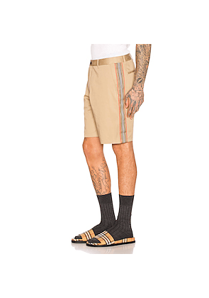 Burberry Icon Stripe Chino Shorts in Neutral