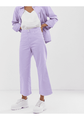 Weekday wide leg cropped jeans in lilac