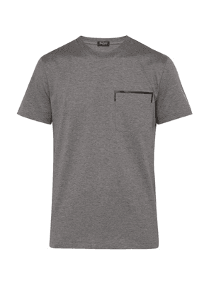Berluti - Leather Trim Pocket Cotton T Shirt - Mens - Grey