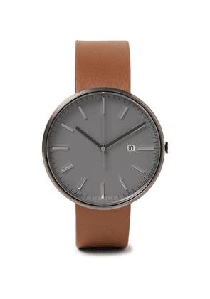 Uniform Wares - M40 Pvd-coated Stainless Steel And Leather Watch - Gray
