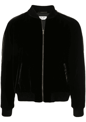 Saint Laurent contrast trim velvet bomber jacket - Black