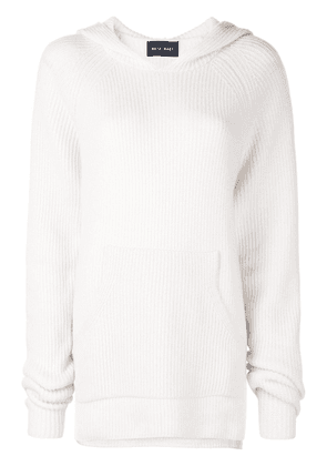 Baja East ribbed knit hoodie - White
