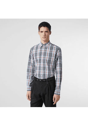 Burberry Vintage Check Cotton Shirt, Size: M, Blue