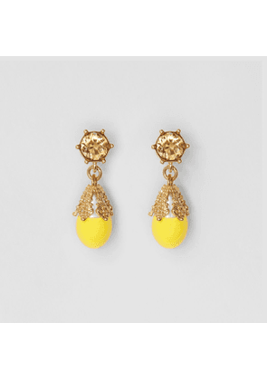 Burberry Gold-plated Faux Pearl Charm Earrings, Yellow