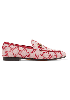 Gucci - Jordaan Horsebit-detailed Leather-trimmed Logo-printed Canvas Loafers - Red