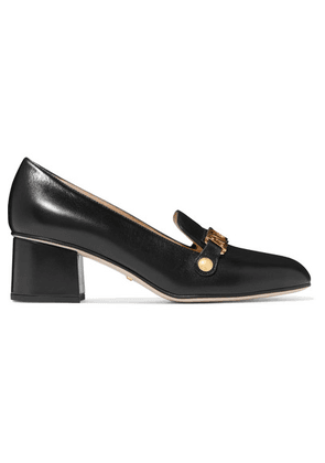 Gucci - Sylvie Chain-embellished Leather Pumps - Black