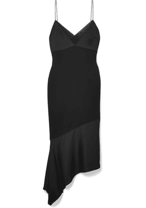 Victoria Beckham - Asymmetric Crepe And Satin Midi Dress - Black